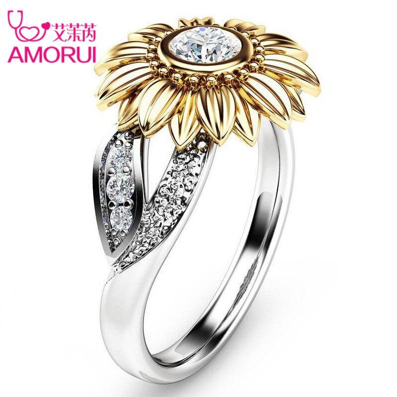 AMORUI CZ Anel de Pedra Jóias Bague Femme Cor Prata Ouro Bonito Girassol Presente de Cristal Anéis de Casamento para As Mulheres o Transporte Da Gota
