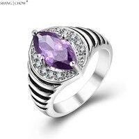 2018 Autumn Vintage Charm Jewelry Purple Quartz Stone 925 Sterling Silver Ring for women Wedding anniversary Accessories R1486