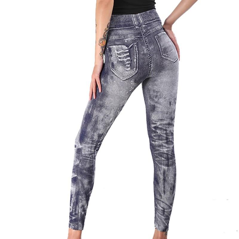 Fashion Holes Design Super Deal Jeans Type   Legging   Jeans Work Out   Leggings   Gray Retro Demin   Legging   Woman   Leggings
