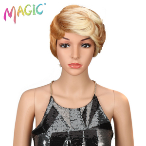 Image 3 - magic Hair Short Synthetic Wigs Women Heat Resistant Hair 8 Inch Short synthetic wigs for women wave 3 Color Free Shipping