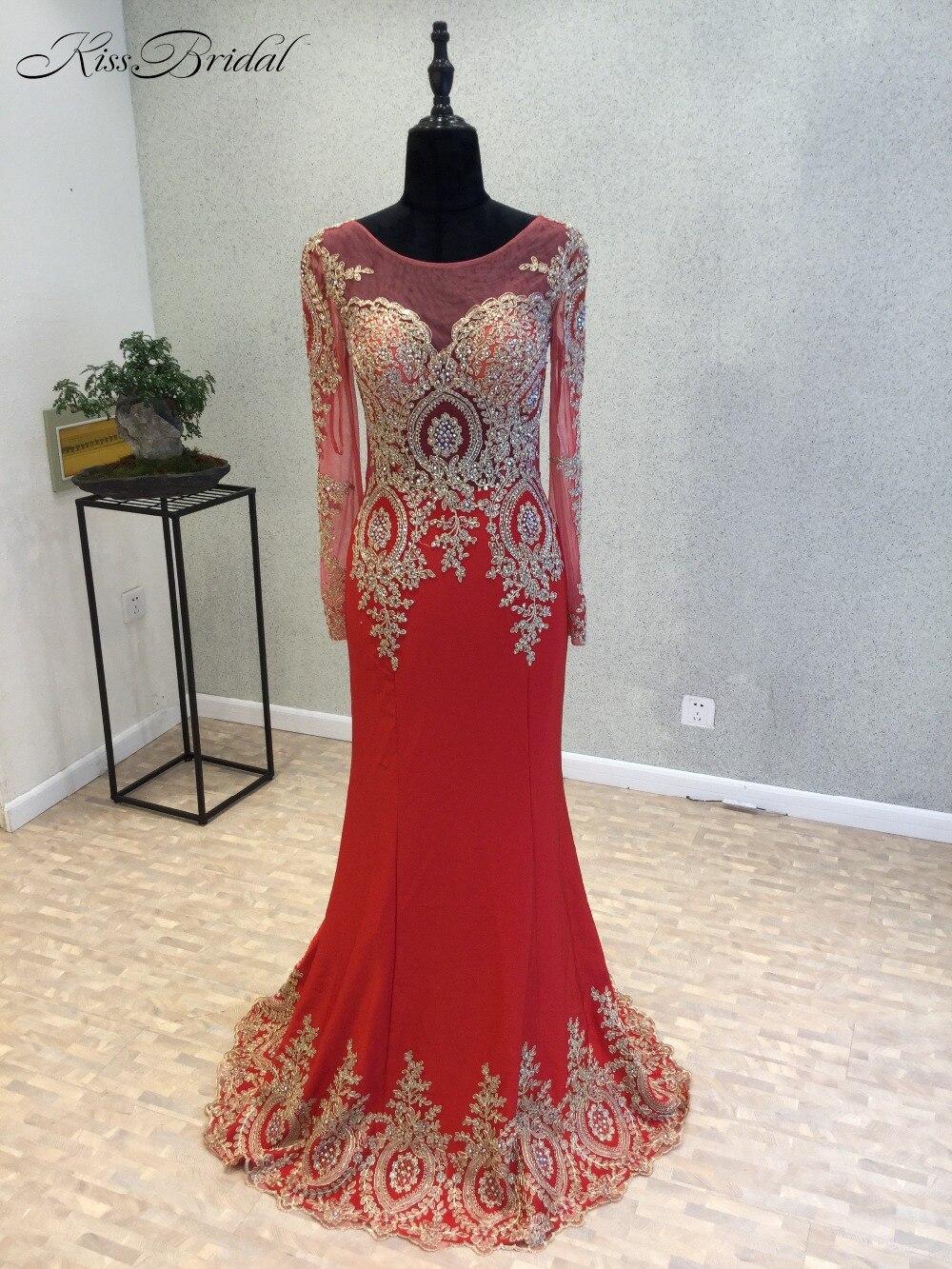 Robe de soirée Sexy rouge robe de soirée 2018 o-cou manches longues longueur au sol Appliques en mousseline de soie robes de bal robes de soirée