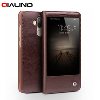 QIALINO Case For Huawei Mate 9 Leather Cases Smart View Window Genuine Leather Flip Cell Phone