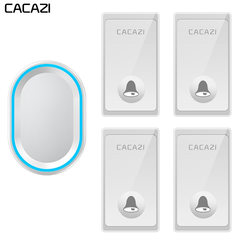 CACAZI Self-powered Wireless Doorbell 4 Buttons 1 Receiver Waterproof No Battery Required Home Call bell US EU UK Plug 58 ChimesCACAZI Self-powered Wireless Doorbell 4 Buttons 1 Receiver Waterproof No Battery Required Home Call bell US EU UK Plug 58 Chimes