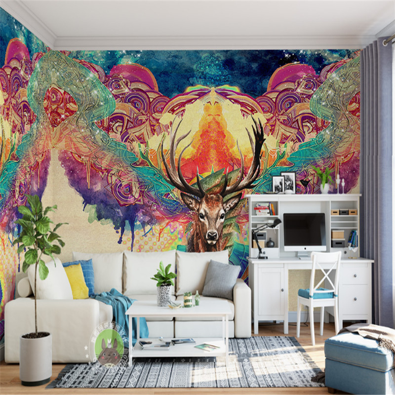 custom 3d photo wallpaper wall mural 3d wallpaper nostalgic abstract elk living room bedroom sofa background wall home decor free shipping 3d wall breaking basketball background wall bedroom living room studio mural home decoration wallpaper