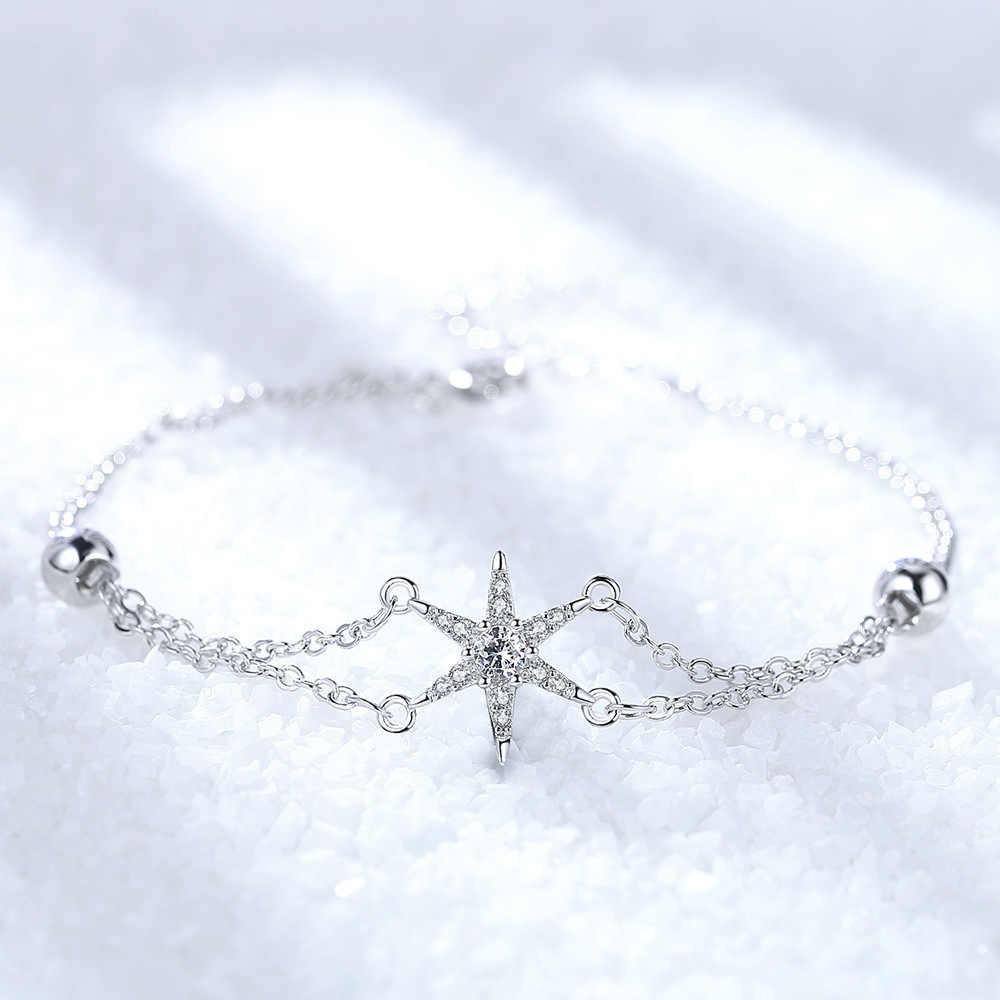 ANENJERY coréen 925 argent Sterling étoile bracelets pour femme Micro Zircon chaîne Bracelet cadeau Simple nouveau bijoux S-B260