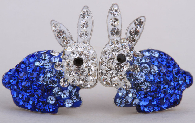 925 sterling silver  bunny rabbit stud earrings W/austrian crystal easter jewelry gifts for women girls dropship wholesale YHE04