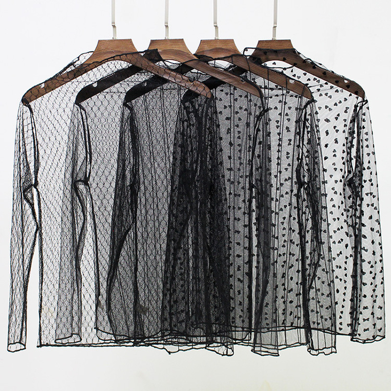 Women Sexy Mesh Lace Transparent Long Sleeve   Blouses     Shirts   Summer Striped Plaid Star   Shirt   Women Casual Ladies Tops LP002