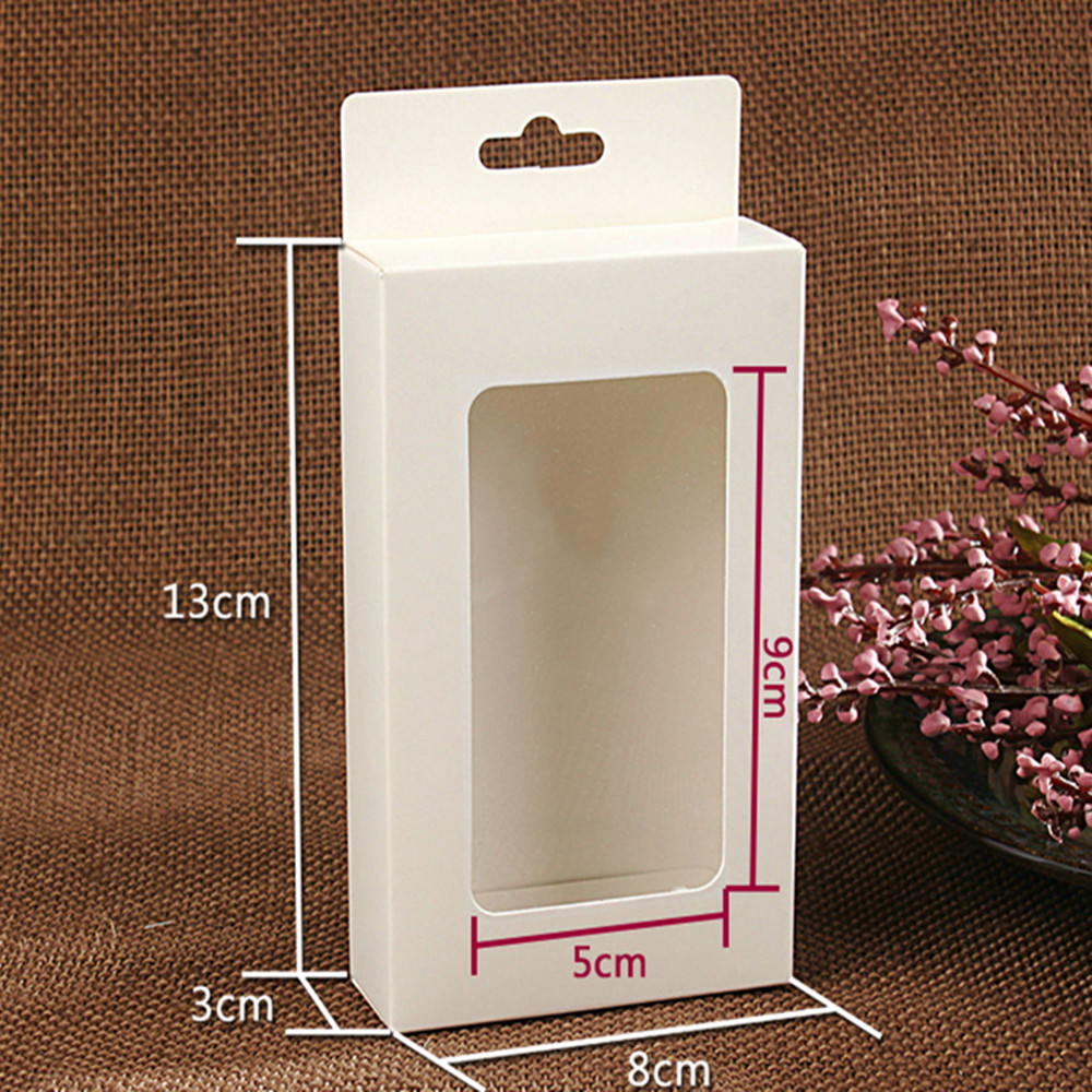 30Pcs/Lot 3x8x13cm Cardboard Packing Window Box For Earphone Cellphone Data Line Event Electronic Product Package Hang Hole Box