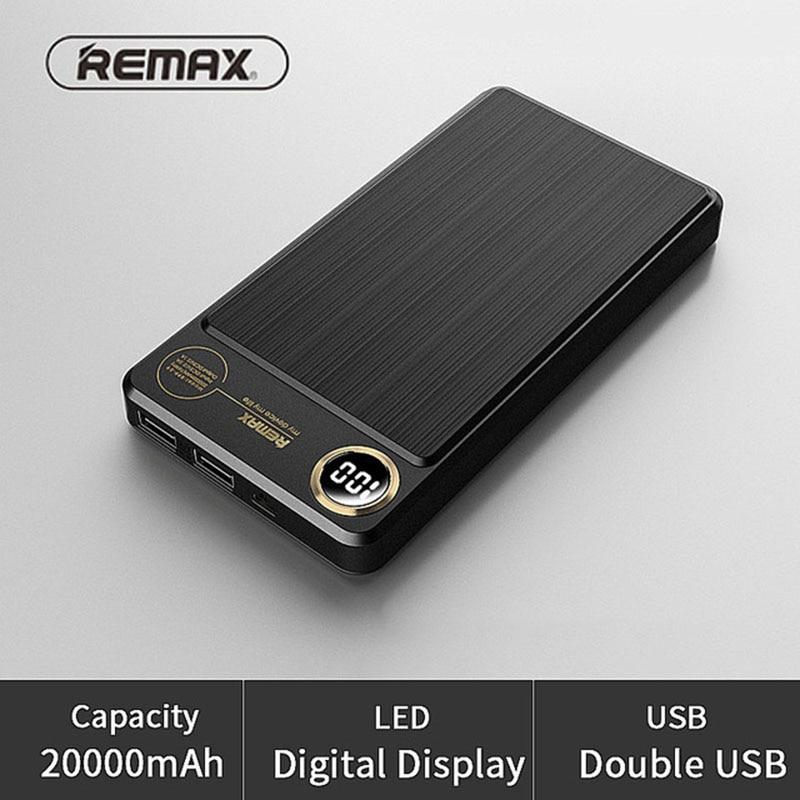 REMAX 20000 mAh 2 USB batterie externe Portable batterie externe banque d'alimentation de chargeur 20000 mah pour iPhone 6 7 piles de secours