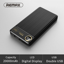 REMAX 20000mAh 2 USB Power bank Portable External Battery Charger Powerbank 20000 mah for iPhone 6 7 poverbank backup batteries