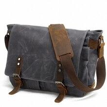 2020 Fashion military Canvas Leather Men shoulder bag Crossbody