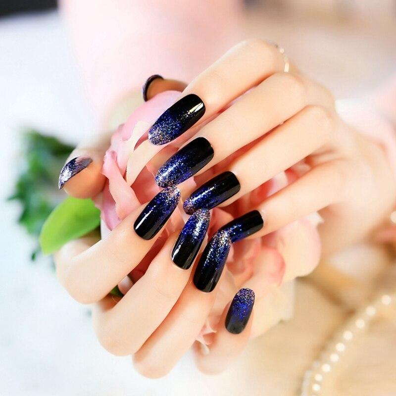 24pcs Acrylic Nails Kit Long Black Nail Art Fake Round Glitter Powder Finished Uv Diy Z241 In False From Beauty Health On Aliexpress