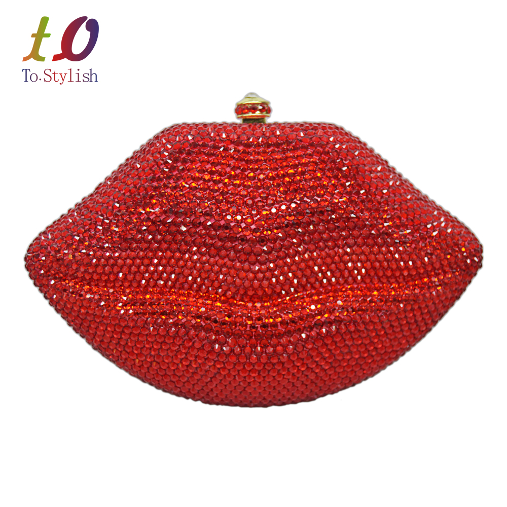 Stylish Diamond Evening Bag Sexy Red Lips Crystal Evening Bag Gold metal Party Purse Bride Wedding Handbag with Chain bag 88313 natate new popular men fashion quartz watch leisure business luxury chenxi brand stainless sports wristwatch 1240