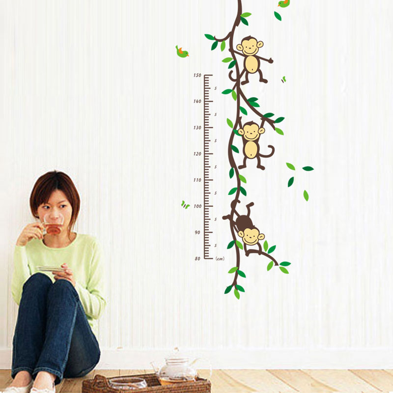 Monkey Height measure Wall Stickers For Children Room Decoration - Heminredning - Foto 5