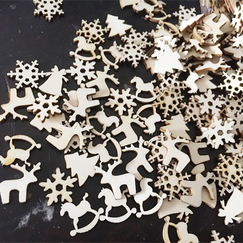 50pcs lot Christmas Party Decor Natural Wood Christmas Ornaments Reindeer Tree Snow Flakes Rocking Horse Ornaments