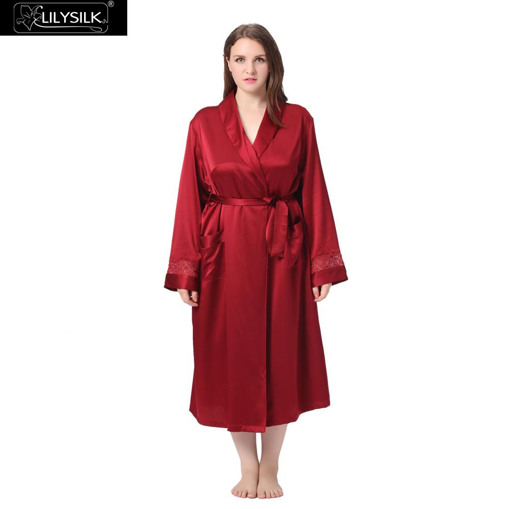 158dc6c697 Lilysilk 100% Pure Silk Robe Women Plus Size 22 Momme Long Sleeve Classic  Style Bathrobe Kimono Luxury Pure Sleepwear Clothes