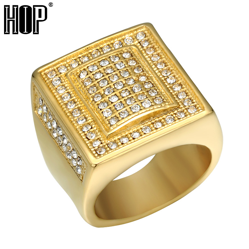 HIP Hop Micro Pave Crystal Chunky Square Mens Ring Iced Out Bling IP Gold  Filled Thick Titanium Rings for Men Jewelry d65981fac4ae
