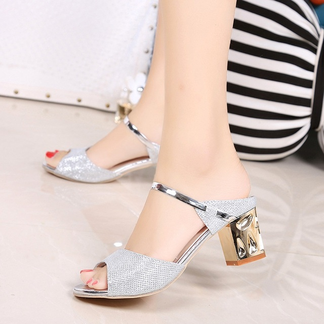 Metal Square Heel Women Sandals Women Heel Shoes Gold Sliver Peep Toe Party Ladies Sandals 3