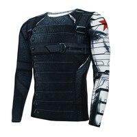 Kaptan amerika kış asker t-shirt mens uzun kollu sıkıştırma 3d baskılı sıkı clothing erkek fitness crosssfit yeni tops