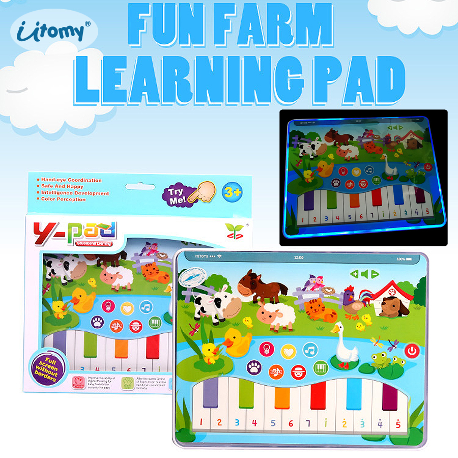 English kids tablet Fun Farm learning toys Pad with Animal cognition,piano songs playing Educational learning toys for children image