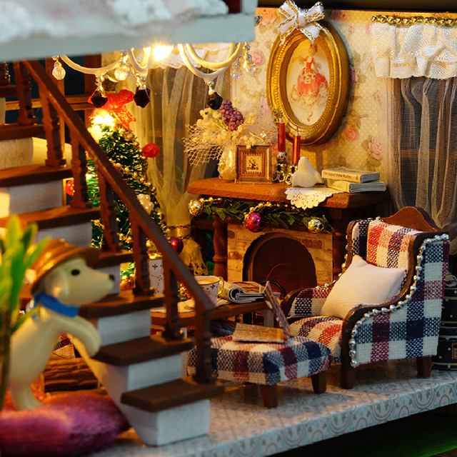 CUTE ROOM DIY Wooden House Miniaturas With Furniture DIY Miniature House  Dollhouse Toys For Children Christmas