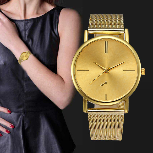 Ladies Golden Quartz Clock Stainless Steel Luxury Brand Women's Bracelet Watches