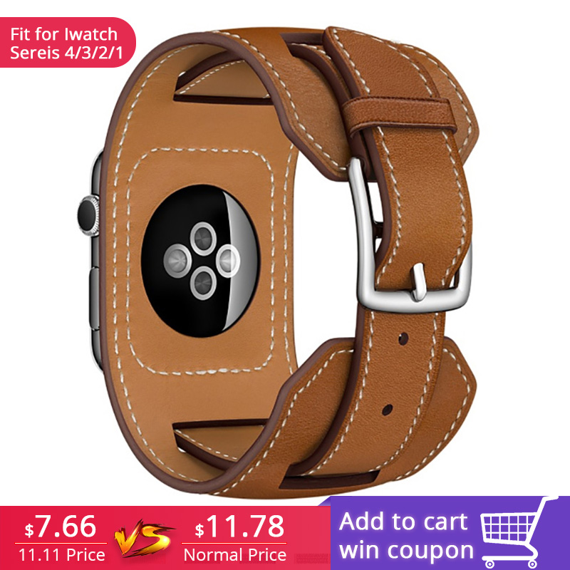 FOHUAS Luxury Extra Long Genuine Leather Band Double Tour Bracelet Leather Strap Watchband for Apple Watch 38mm 42mm In Stock цена