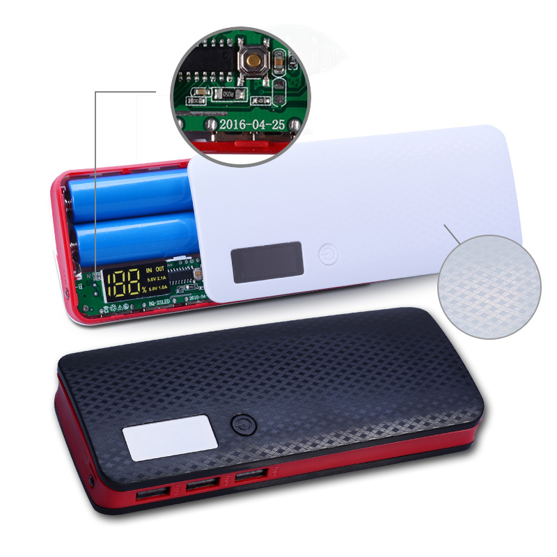 Newest 3 Ports 5x18650 DIY Portable Battery Power Bank Shell Case Box LCD Display Powerbank Box DIY KIT 18650 (No Battery)