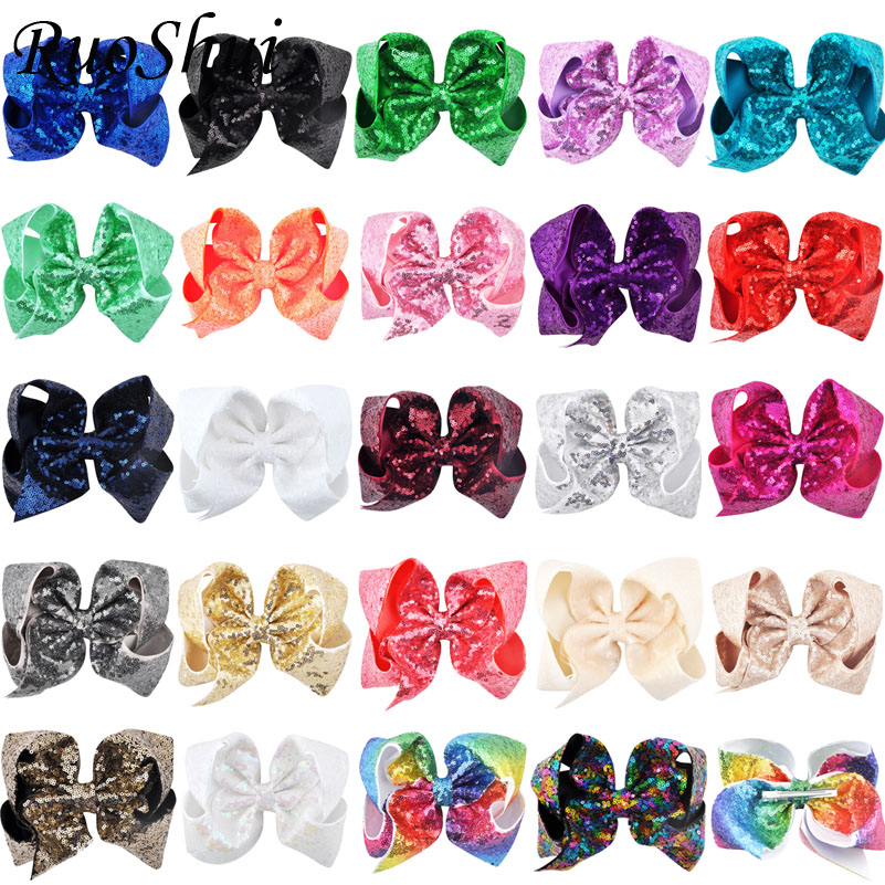 24PCS LOT 8 inch Children Rainbow Large Hair Bow Sequins Ribbon Hairgrip Alligator Clips Headwear Bowknot