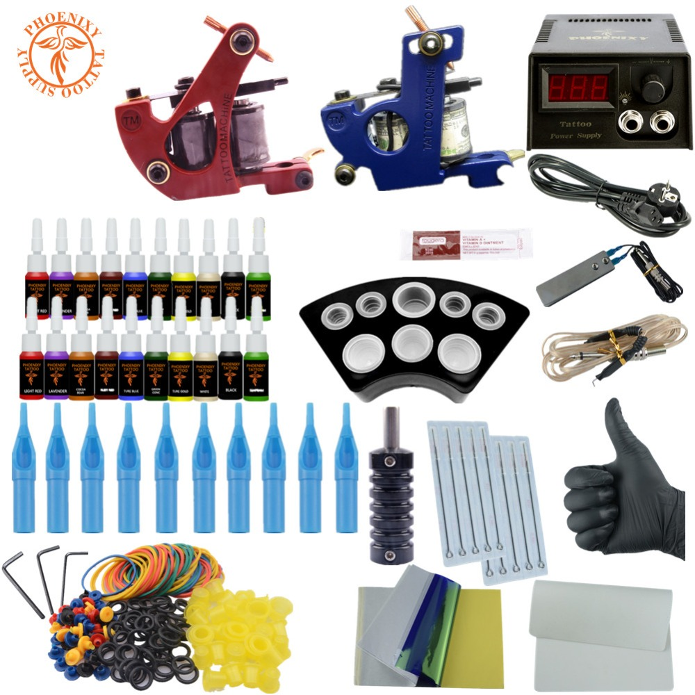 все цены на Tattoo Kit Professional 2 Tattoo Machines 20 Colors Ink Set Power Supply Box Beginner Body Art Supplies Needles Tips Tattoo Kits