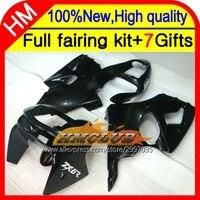 Body Custom For KAWASAKI NINJA ALL Black ZX6R ZX-6R 98 99 ZX 6R 636 6 R C#619 Bodywork Gloss black ZX636 1998 1999 Fairing