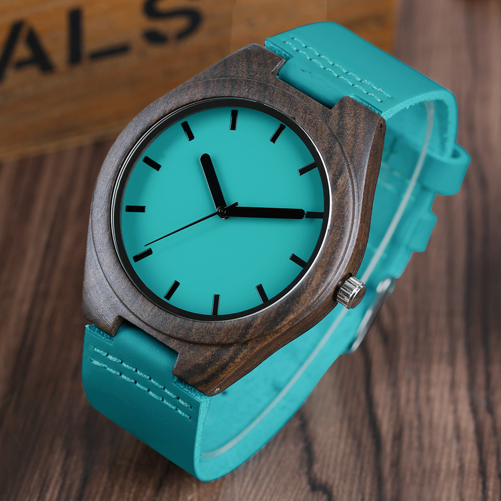YISUYA Nature Wood Mens Blue Genuine Leather Strap Wristwatch Casual Sandalwood Wooden Quartz Watches Modern Male Gift