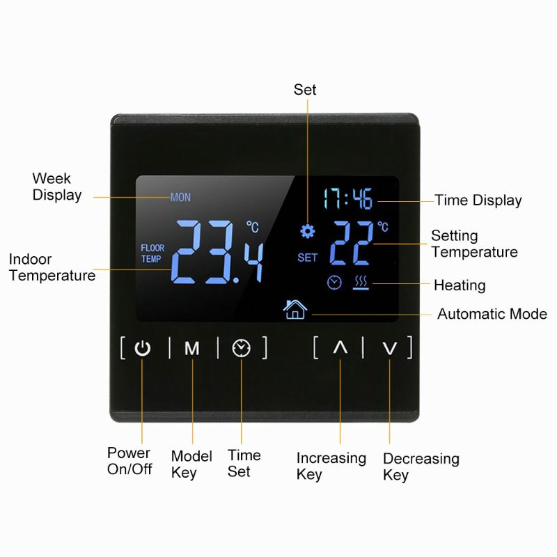 LCD Touch Screen Thermostat Electric Floor Heating System Water Heating Thermoregulator AC85-240V Temperature Controller 110V 22