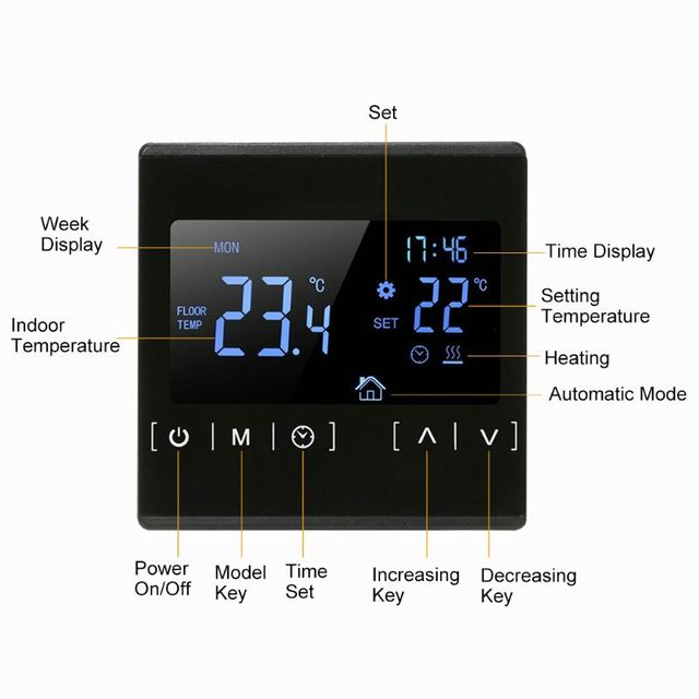 LCD Touch Screen Thermostat Electric Floor Heating System Water Heating Thermoregulator AC85 240V Temperature Controller 110V 22