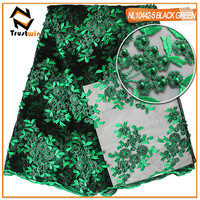 Trustwin The French Lace Fabric High Quality With Embroidered And Beads Pearls Fabric Tulle Fabric For