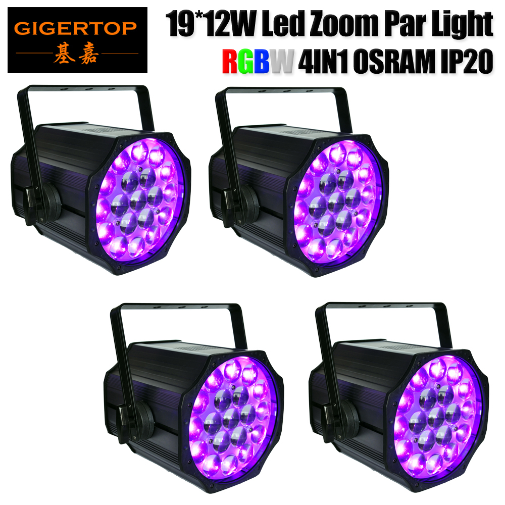 Freeshipping 4 X 19X12W RGBW 4IN1 Indoor Led Zoom Par Light 230W High Power 10 50