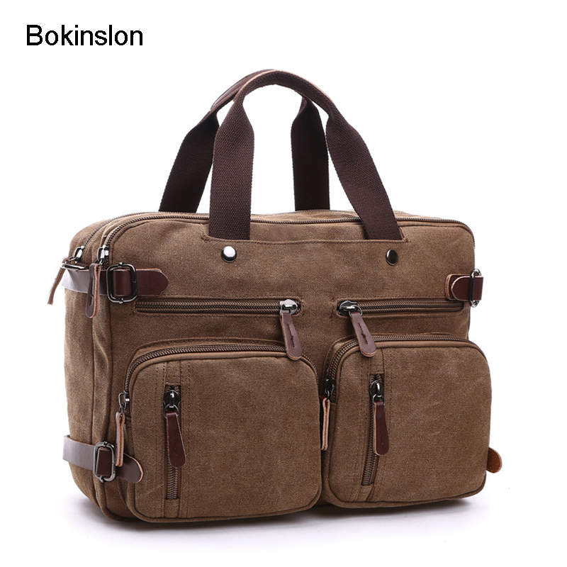 Bokinslon Men Handbags Canvas Casual Man Practical Bags Popular Solid Color Shoulder Travel Bags For Male bokinslon handbags bags men cow split leather multifunction man business bags casual practical shoulder bags male