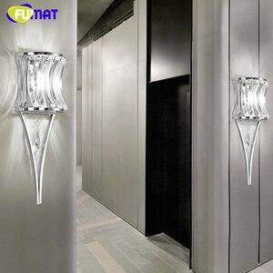 Настенный светильник с кристаллом FUMAT, современный Хромированный Светодиодный светильник для спальни, гостиной