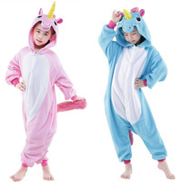 Blue And Pink Unicorn Children Jumpsuits Halloween Carnival New Year Cartoon Costumes Onesie Pajamas
