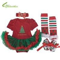 Baby Girls Christmas Costumes Romper Dress Headband Shoes Leg Warmer Clothing Set Party Clothes Bebe Princess