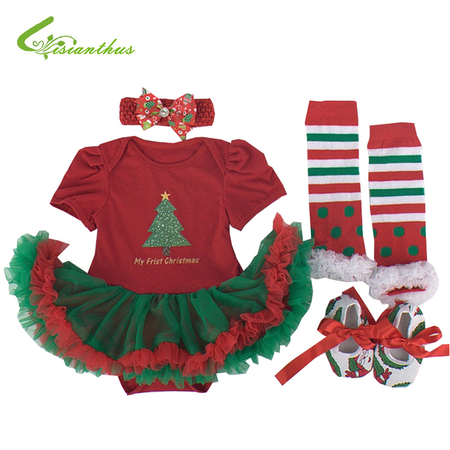 Baby Girls Christmas Costumes Romper Dress + Headband + Shoes + Leg Warmer Clothing Set Party Clothes Bebe Princess Free Ship