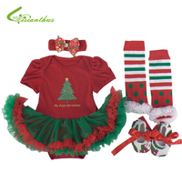Baby Girls Christmas Costumes Romper Dress Headband Shoes Leg Warmer Clothing Set Party Clothes Bebe Princess