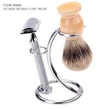 Grandslam Stainless Steel Badger Shaving Brush Holder Double Edge Safety Shaving Razor Stand For Man Shave Beard