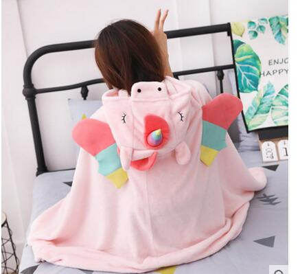 Unicorn Cartoon Hooded Blanket