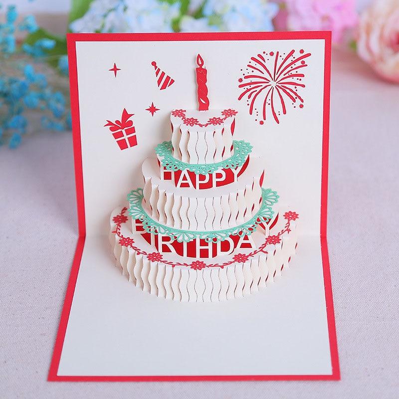 Открытка с тортиком скрапбукинг, днем рождения