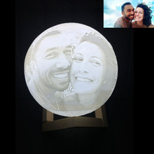 Customized Personality 3D Printing Moon Novelty Light Lunar USB Charging Night Lamp Touch/Remote 2/16 Colors Moonlight