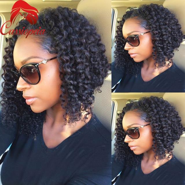 Short Curly Bob Cut Lace Wigs 16 Inch Peruvian Virgin Human Hair U