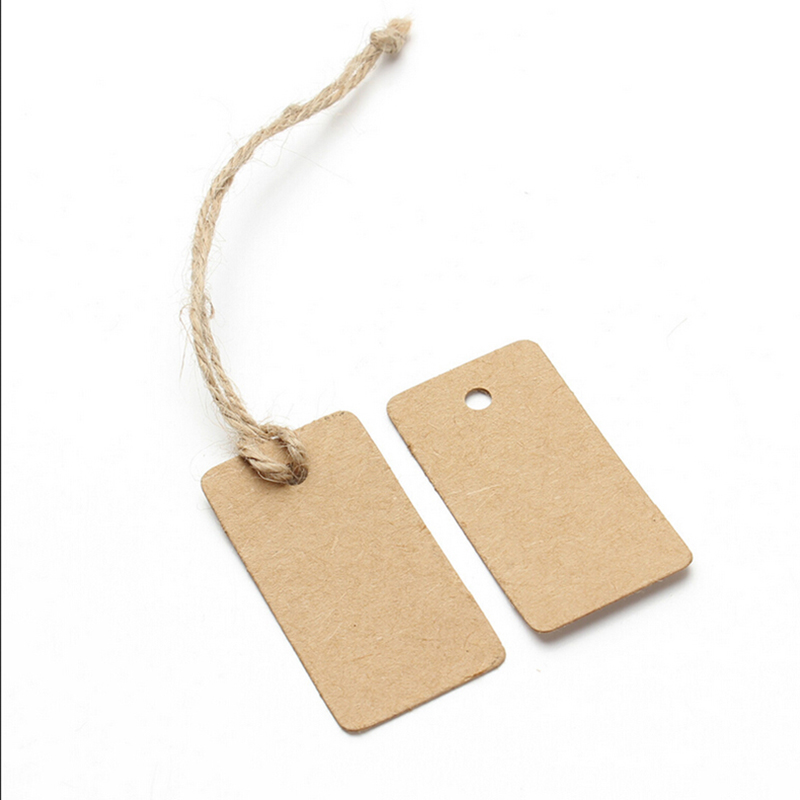 100X Brown Kraft Paper Tags Rectangular Label Luggage Wedding Note DIY Blank price Hang tag Kraft Gift 25 33 8cm kraft paper gift bag festival paper bag with handles fashionable jewellery bags wedding birthday party
