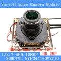 2MP 1920 * 1080 AHD CCTV 1080P mini Camera Module 1 / 2.7 2000TVL 2.8mm wide-angle 120 degree surveillance camera ODS/ BNC Cable