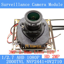 2MP 1920 * 1080 AHD CCTV 1080P mini Camera Module 1 / 2.7 2000TVL 2.8mm wide-angle 120 degree surveillance camera ODS/ BNC Cable